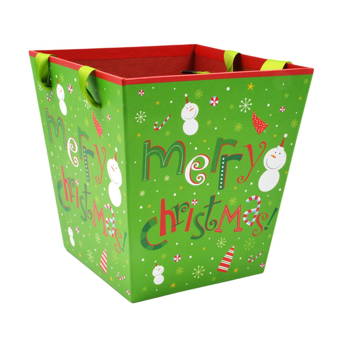 Cutie patrata tip sacosa Merry Christmas manere satin verde