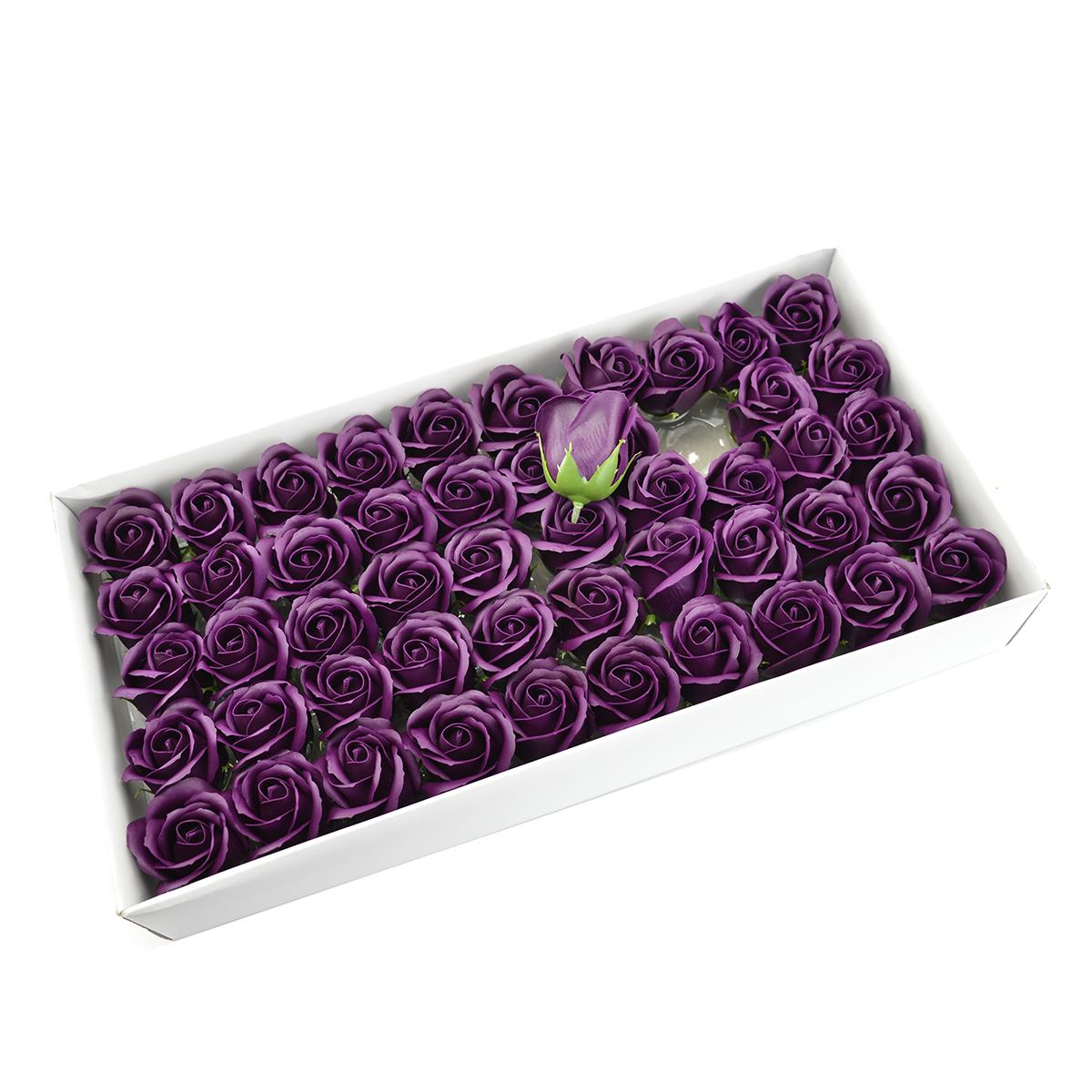 Set di 50 rose di sapone profumate, real touch, marsalla scuro
