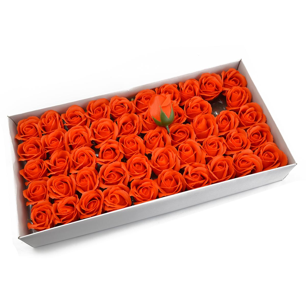 Set di 50 rose di sapone profumate, tocco reale, arancione