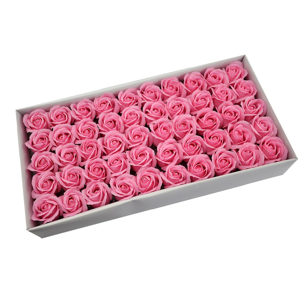 Set di 50 rose di sapone profumate, real touch, rosa
