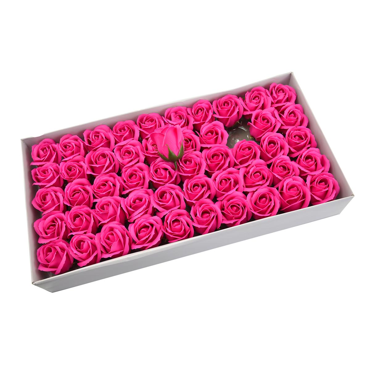 Set di 50 rose di sapone profumate, real touch, rosa intenso