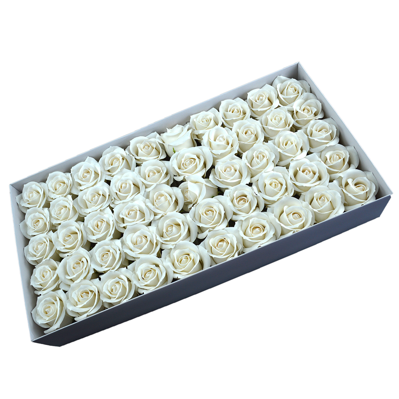 Set di 50 rose di sapone profumate, real touch, bianche