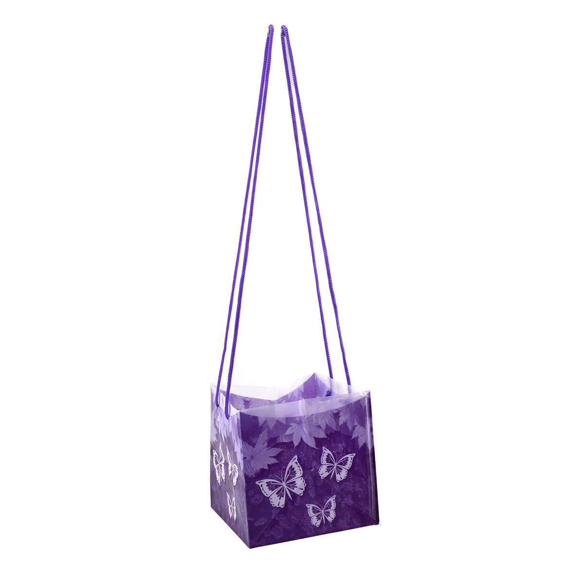 Sacchetto di plastica pieghevole con lunghi manici in pizzo viola
