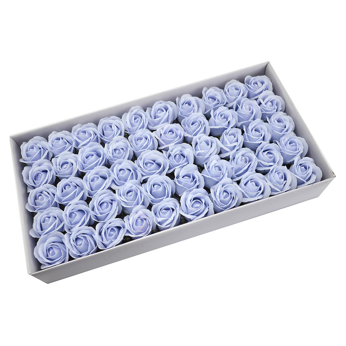 Set di 50 rose di sapone profumate, tocco reale, azzurro