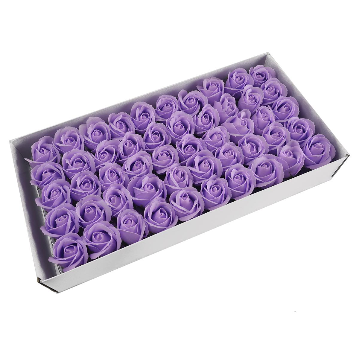 Set di 50 rose di sapone profumate, tocco reale, lilla chiaro