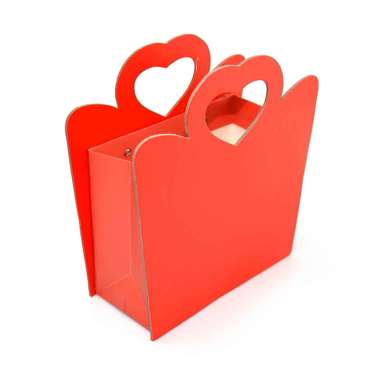 Scatola di cartone pieghevole con manico a cuore duro, lato rosso
