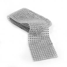 Rotolo di strass flessibile 6 cm x 1,8 m, argento