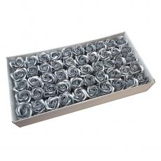 Set di 50 rose di sapone profumate, tocco reale, argento