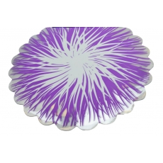 Fiamme rotonde in cellophane lilla con bianco