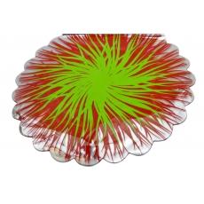 Fiamme rotonde in cellophane rosso con verde