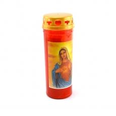 Candela led plastica rossa 16x6 cm