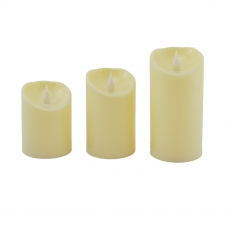 Set di 3 candele led crema 10/12 / 14x7,5cm