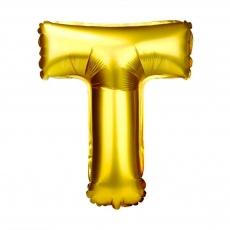Palloncino gonfiabile dorato 55 cm lettera T