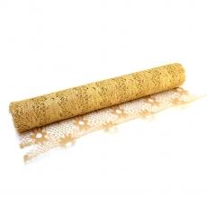Motivo floreale a rete in pizzo metallizzato oro