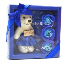 I migliori auguri pacchetto orsacchiotto con rose di sapone blu