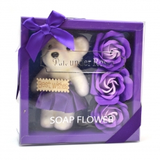 I migliori auguri pacchetto orsacchiotto con rose di sapone viola