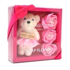 I migliori auguri pacchetto orsacchiotto con rose di sapone rosa