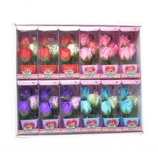 Set di 12 decori con rose di sapone di colore misto