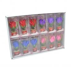 Set di 12 decori con rose di sapone e led in colori misti modello 1