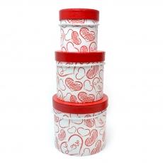 Set di 3 scatole di schizzo cuore rosso bianco