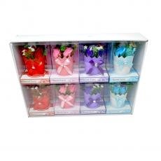 Set di 8 mini composizioni di rose di sapone in vaso